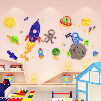 Creative cartoon spaceship DIY Children's room bedroom home living room TV background wall decoration 3D acrylic wall stickers