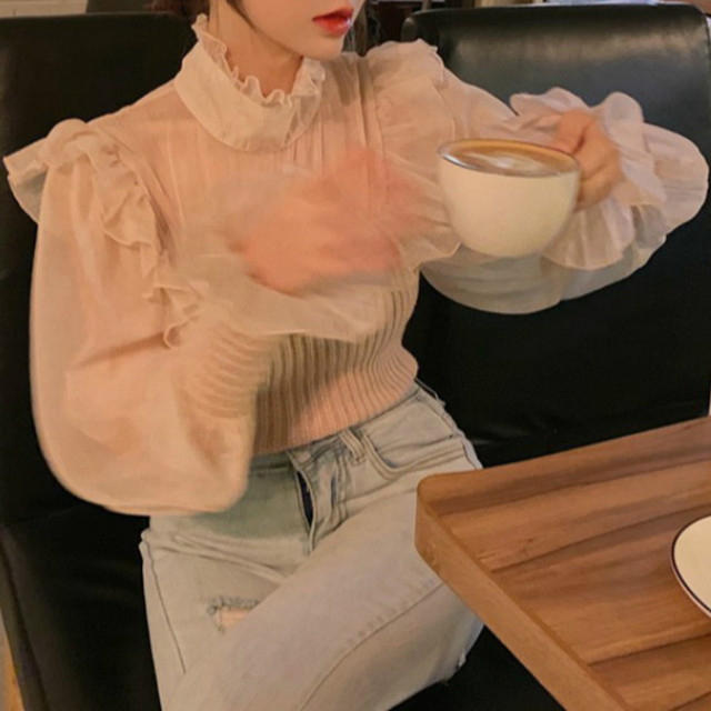 Ezgaga Elegant Party Blouse Women 2021 Spring Mesh Patchwork Flare Sleeve Lace Up Sexy Slim Solid Ladies Shirts Korean Blusas 4