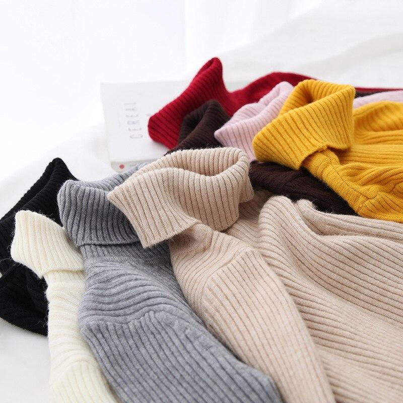 H.SA 2020 Autumn Basic Turtleneck Sweater Casual Soft Solid Jumper Fashion Korean Sweater Slim Femme Elasticity Winter Pullovers