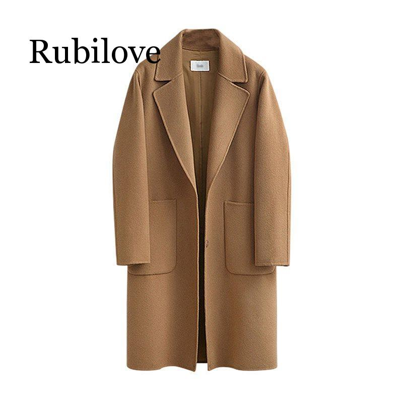 Rubilove 2019 Wool   Trench   Coat Office Ladies Winter Casual Vintage Plus Size Women Long   Trench   Coats Autumn Overcoats