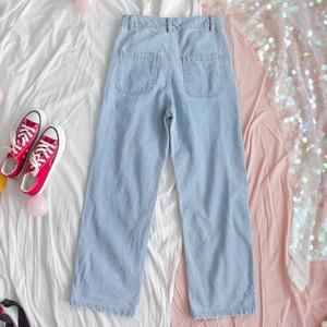 Модные Хлопковые женские джинсы в стиле Харадзюку, прямые джинсовые брюки с высокой талией, милые джинсовые брюки с вышивкой в виде щенка для девочек|Прямые джинсы|   | АлиЭкспресс