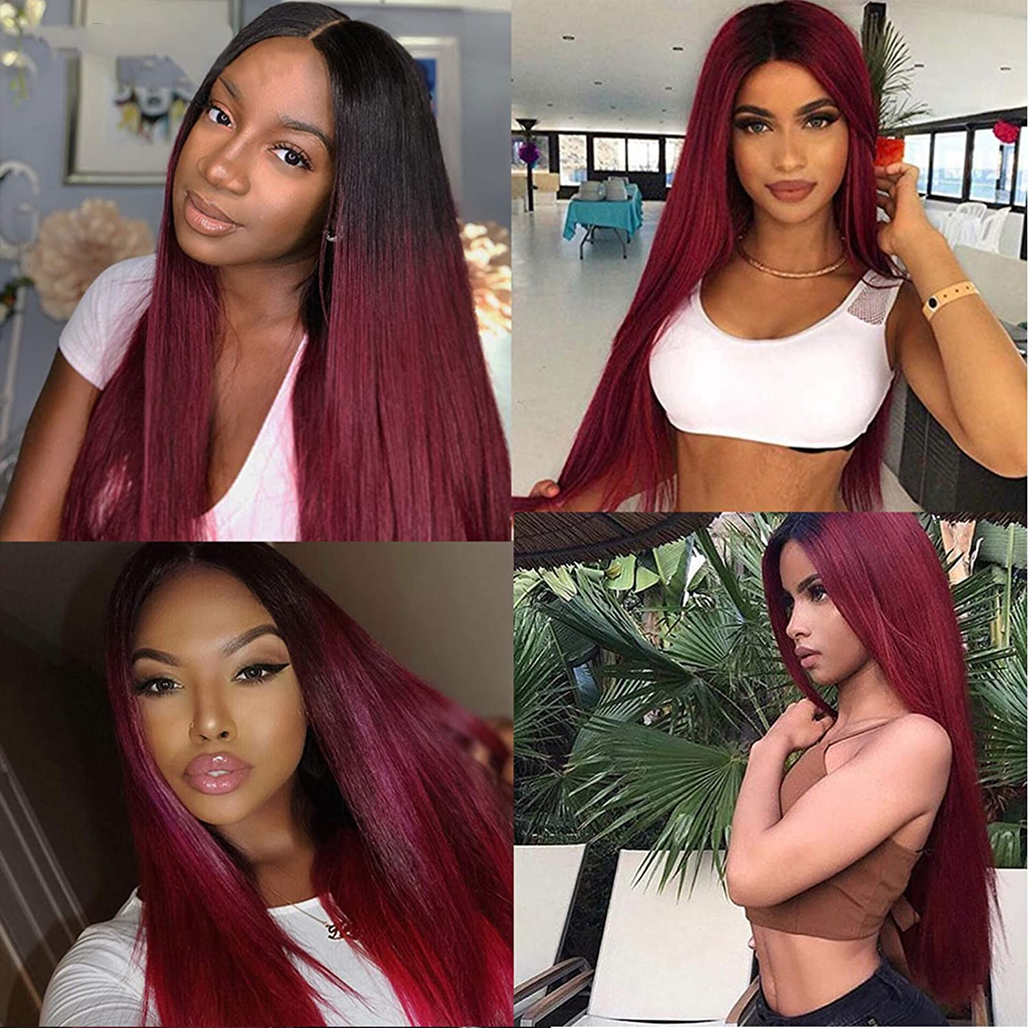 Ombre 4x4 Closure Wig Bone Straight  Wigs  T1b/99j   Cosplay Wig Lace Frontal Wigs 6