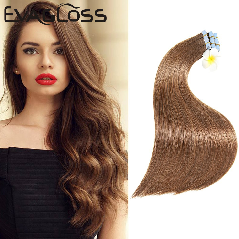 EVAGLOSS Tape In Hair Extensions Skin Weft Real Remy Siliky Straight Tape Hair Extensions Adhesive Tape In Human Hair Extensions