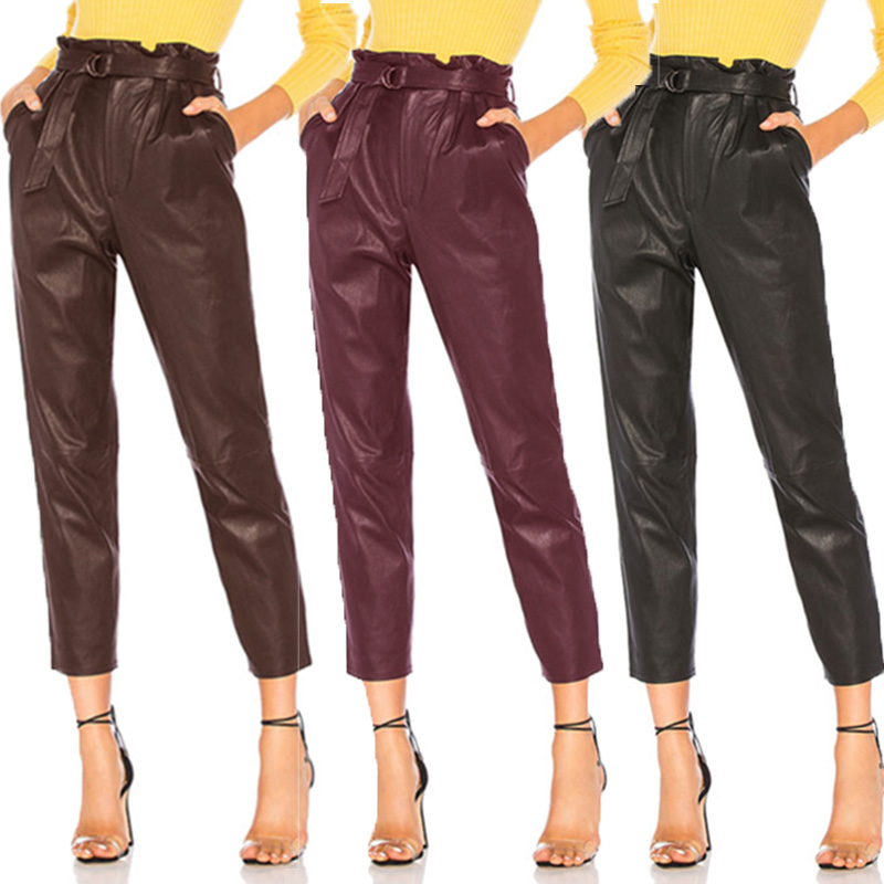 Stylish Faux Leather Pencil Pants Women's High Waist Trousers ZANZEA Belted Front Zipper Stretch Pantalon Plus Size Turnip