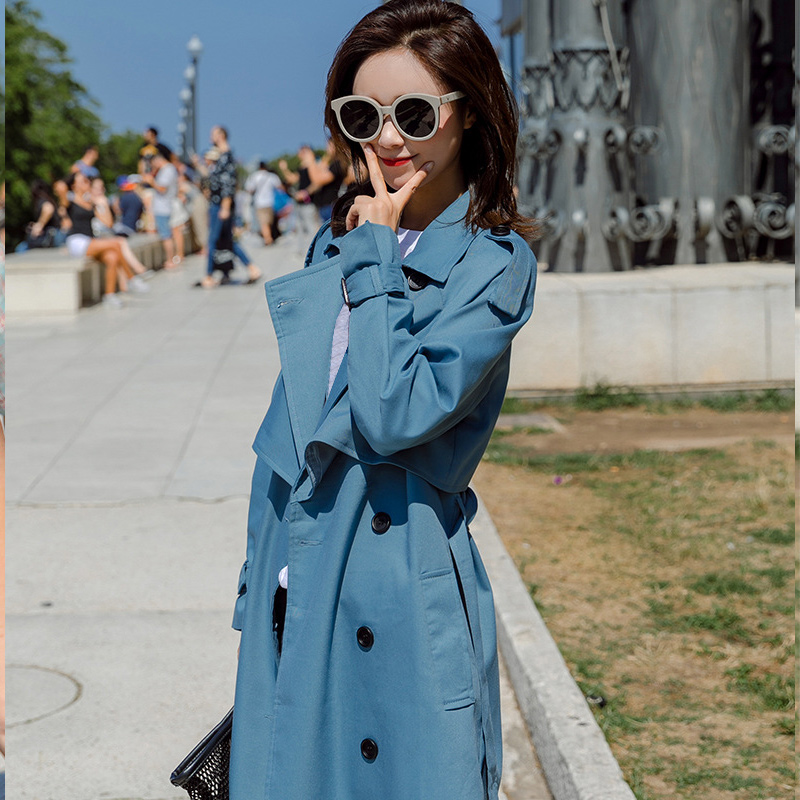 Fashion Windbreaker Coats Long section 2019 New Spring Autumn Coat Women   Trench   Coats Korean Loose Casual Ladies Outerwear