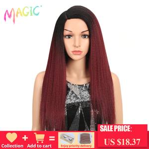 Image 1 - MAGIC Hair Synthetic Wigs For Black Women 28 Inch 70CM Heat Resistant Fiber Hair Long Ombre Brown Yaki Straight Lace Front Wig