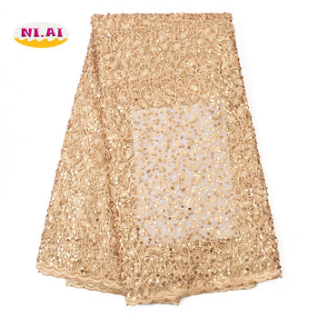 NIAI Latest African Lace Fabric 2020 High Quality Lace Material With Sequins Nigerian Net Lace Fabrics For Party Dress XY3107B-5