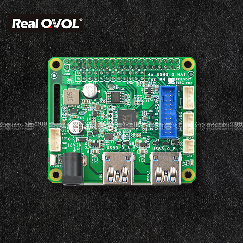 RealQvol Friendlyarm PCIe To USB 3.0 X4 HAT For M4 Power/Fan Interface 40-PIN Connector Are Populated