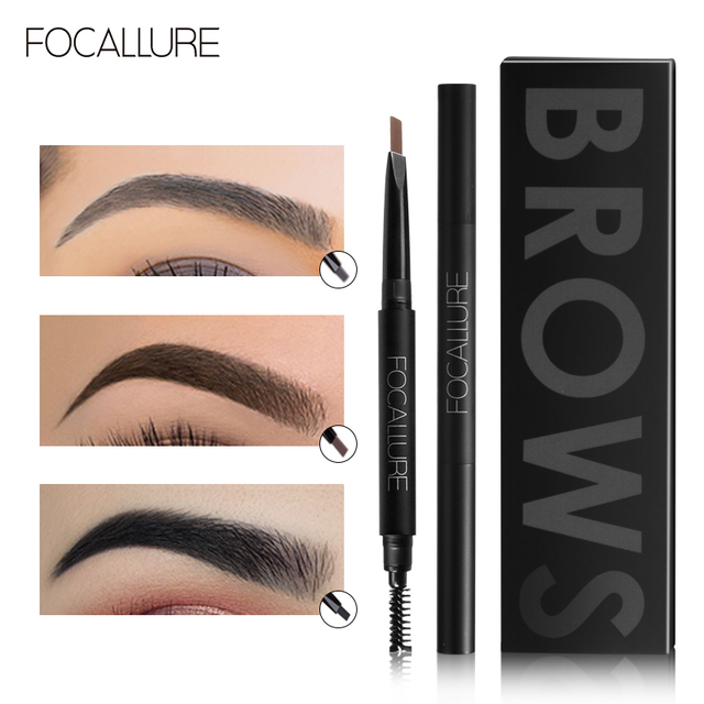 FOCALLURE Eyebrow Pencil 3 Colors Soft And Smooth Automatic Waterproof Natural 1pc Eye brow with brush Makeup tools 2