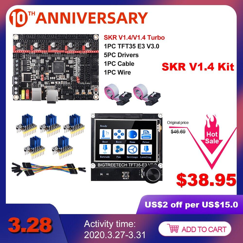 BIGTREETECH SKR V1.4 BTT SKR V1.4 Turbo 32 Bit placa + TFT35 E3 V3.0 3D piezas de la impresora TMC2130 TMC2209 TMC2208 del MKS GEN L Ender-3