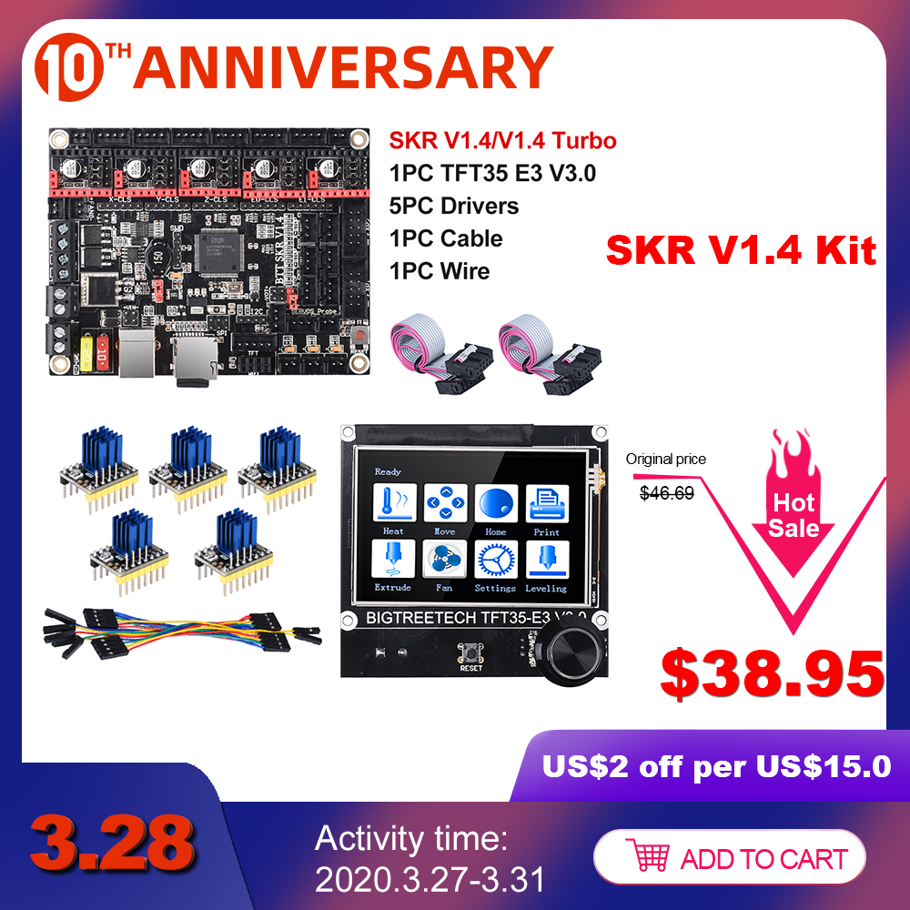 Bigtreetech Skr V1.4 Btt Skr V1.4 Turbo 32 Bit Scheda + TFT35 E3 V3.0 3D Parti Della Stampante TMC2130 TMC2209 TMC2208 vs Mks Gen L Ender-3
