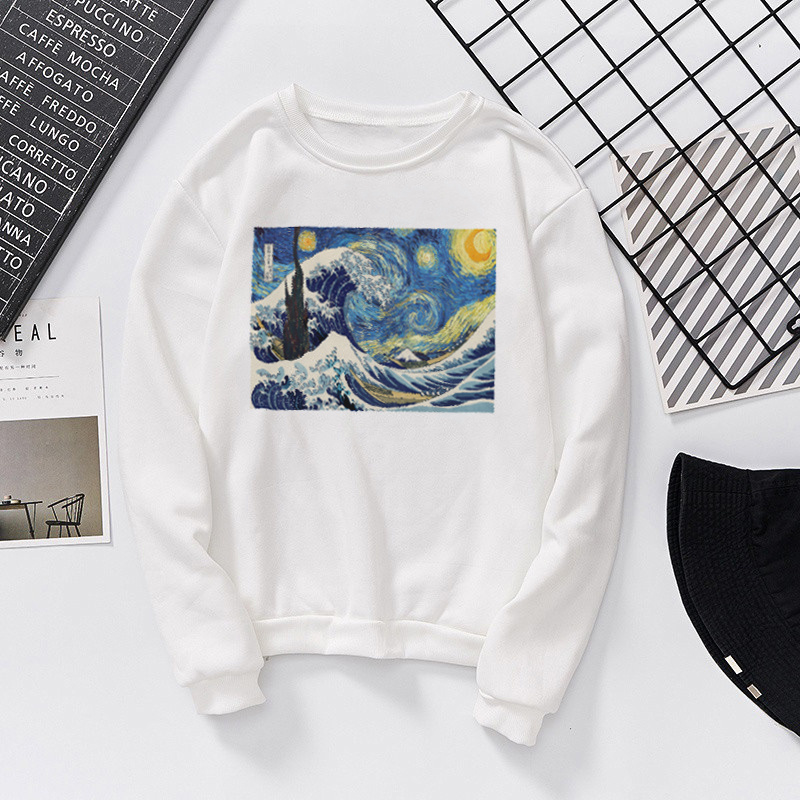 Van Gogh The Starry Night And Ukiyoe Beneath The Waves Off Kanagawa Print Long Sleeve Shirts Women's Sweatshirt Harajuku Hoodies