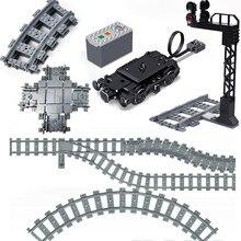 Cidade trem faixas blocos de construção interruptor flexível trem ferroviário motor roda acessório tráfego luz locomotiva brinquedos educativos
