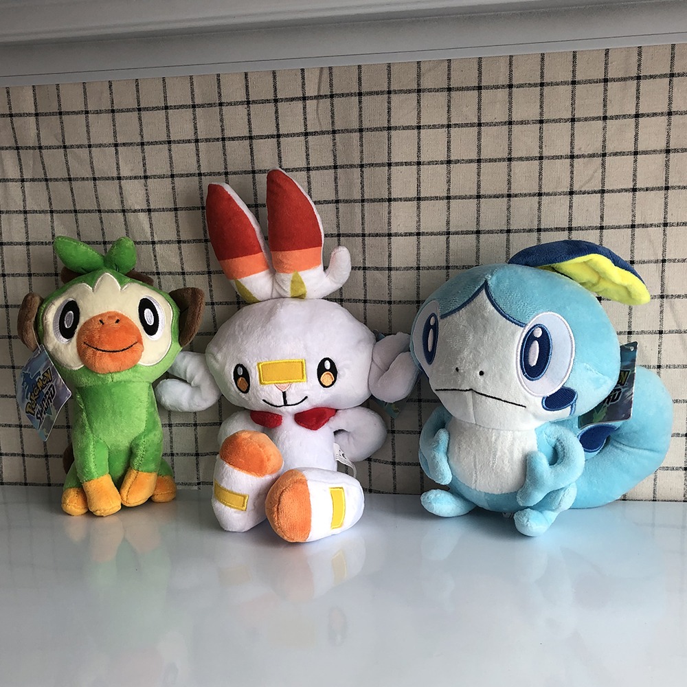 Sobble Scorbunny Grookey Cartoon Elf figure plush soft stuffed Collection toys for Children Christmas gift peluches 2