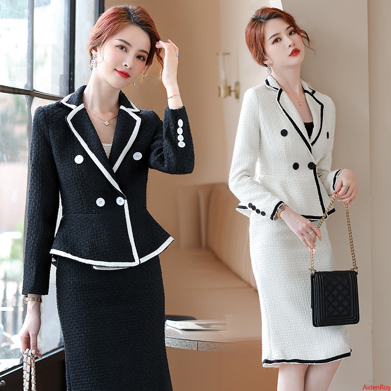 Winter White Black Skirt Set Office Uniforms  Skirt and Suit  for Women 2 Set Piece Wool Designer Complete Office Outfit Women
