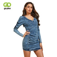 GOPLUS 2019 Denim Dress Women Sexy V neck Womens Puff Sleeve Mini Dresses Summer Slim Bodycon Clothing For