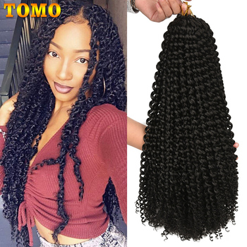 TOMO Passion Twist Crochet Hair Synthetic Braiding Hair Extensions 14 18 22Inch 22Strands Spring Twist 80g/Pack Long Black Brown 17