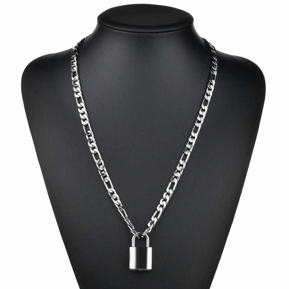 Hip Hop Punk mężczyźni srebrny metalowy łańcuch z zamknięciem klucz naszyjnik moda w stylu Vintage geometryczne Choker naszyjniki dla kobiet