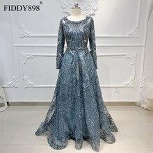 דובאי שמלת ערב ארוך שרוולי אונליין קריסטל חרוזים תחרה יוקרה ערב שמלת פורמליות המפלגה שמלת Vestido דה Festa לונגו