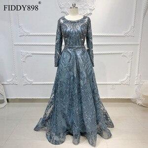 Image 1 - Дубай вечернее платье с длинными рукавами ТРАПЕЦИЕВИДНОЕ кружевное роскошное вечернее платье с кристаллами и бусинами официальное вечернее платье Vestido de Festa Longo