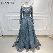 Dubai Evening Dress Long Sleeves A Line Crystal Beaded Lace Luxury Evening Gown Formal Party Dress Vestido de Festa Longo