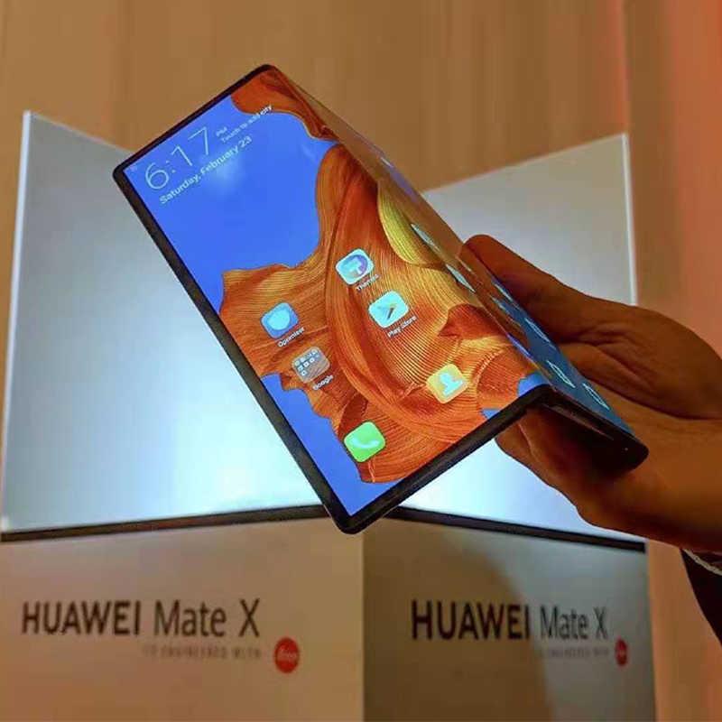 株式オリジナル Huawei 社メイト × つ折り画面 5 グラム携帯電話キリン 980 Balong 5000 アンドロイド 9.0 8 ギガバイトの RAM 512 ギガバイト ROM 40.0MP 5 グラム電話