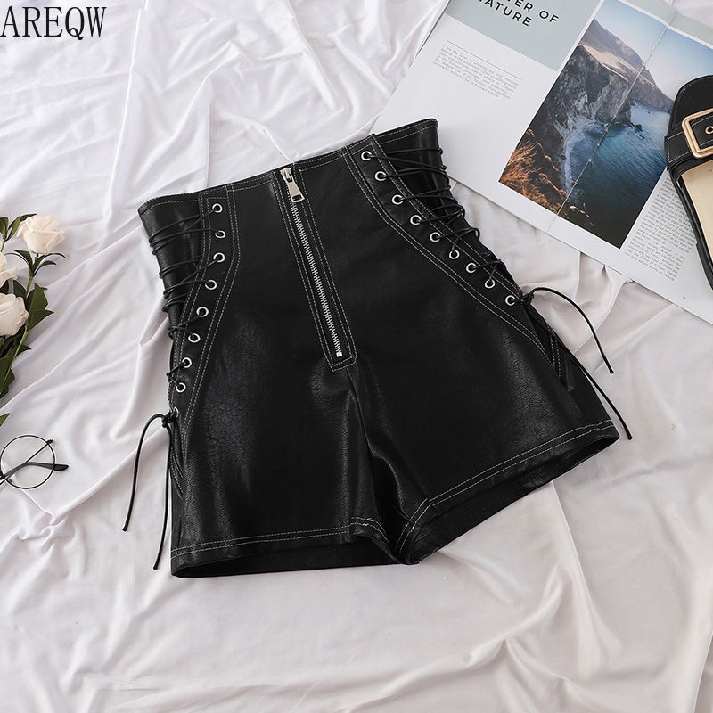 High Waist PU Leather Shorts Women 2019 New Autumn And Winter Sexy Shorts Bandage Slim Black Leather Tight