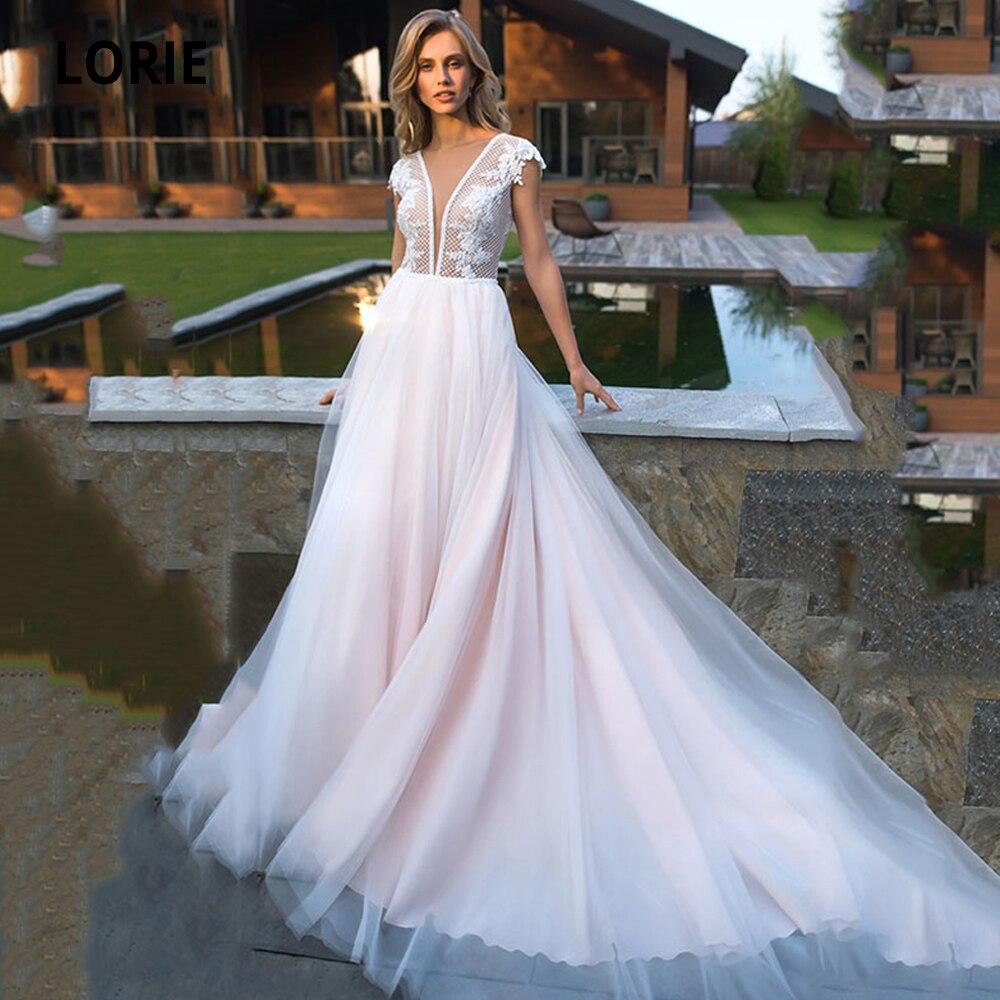 LORIE Sexy Deep V-neck Cap Sleeve Lace Blush Wedding Dresses Beach Bridal Gown Back Illusion Boho Princess Party Dresses 2020