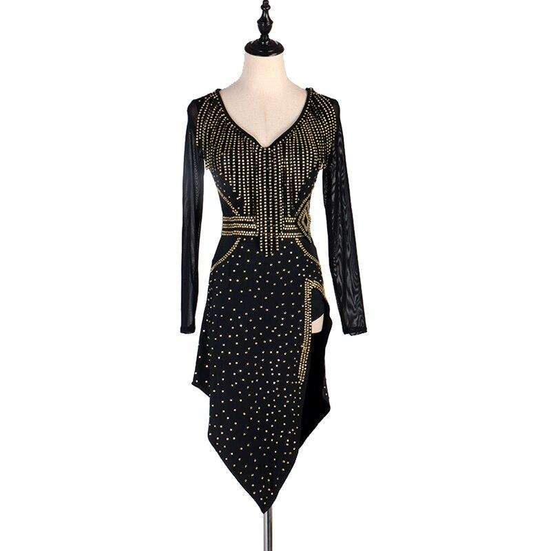 Customized Black Latin Dress Women Rhinestone Tango Salsa Rumba Cha Cha Samba Ballroom Performance Competition Dresses DC3368