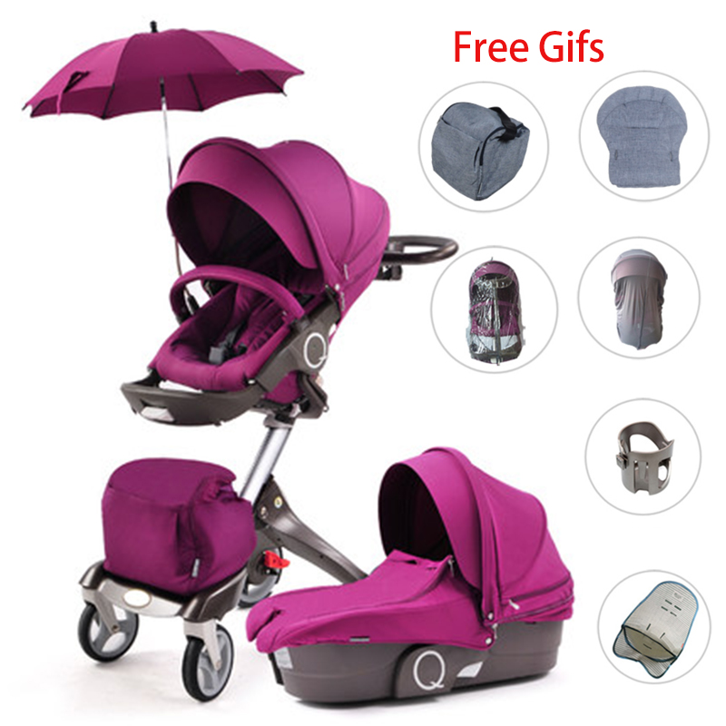 Dsland High View Baby Stroller Portable Can LieTwo-way Four-wheel Shock Absorber Baby Cart Folding Umbrella Car Baby Carriage