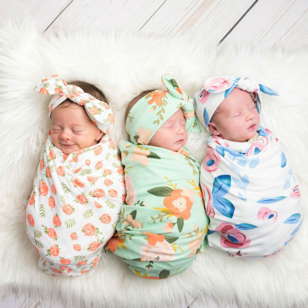 Girl Boys Toddler Daily Wrap Newborn Baby Home Gift Headband Set Party Fashion Swaddle Blanket Photography Props Floral Print