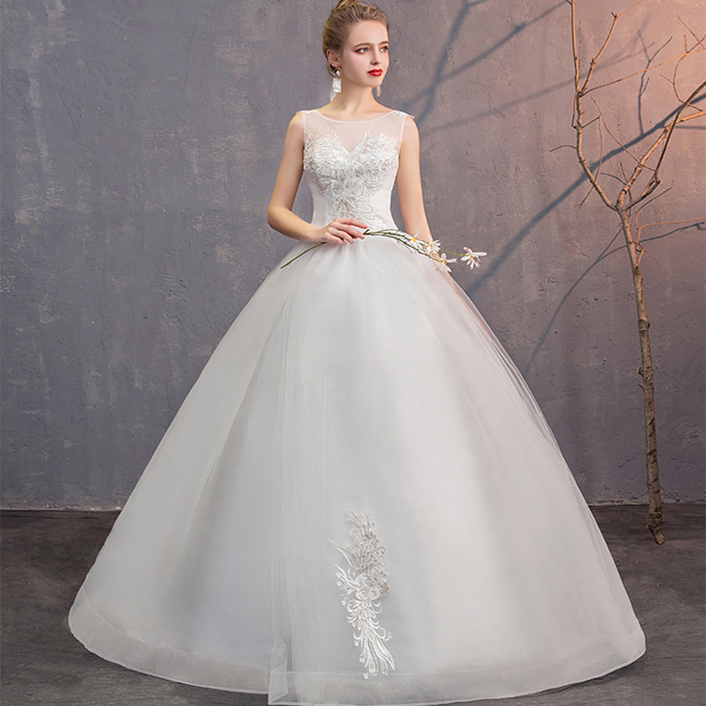 White Lace Wedding Dresses Ball Gown Lace Up O-Neck Sleeveless Appliques Tulle Simple Bride Wedding Gowns Vestido De Noiva 2020