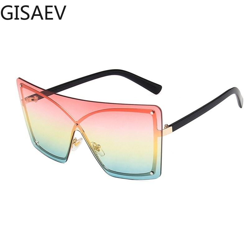 Metal X Frame Siamese Oversized Sunglasses Women Luxury Large Driving Glasses Women Catwalk Fashion Glasses One Piece Sunglasses