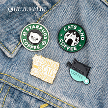 QIHE JEWELRY Cute Animals Coffee Enamel Lapel Pins Cat Dog Cartoon Brooches Badges Fashion Pins Gifts for Friends Wholesale starpugs coffee enamel lapel pins cartoon cat dog brooches badges fashion backpack pin gifts for friends wholesale jewelry
