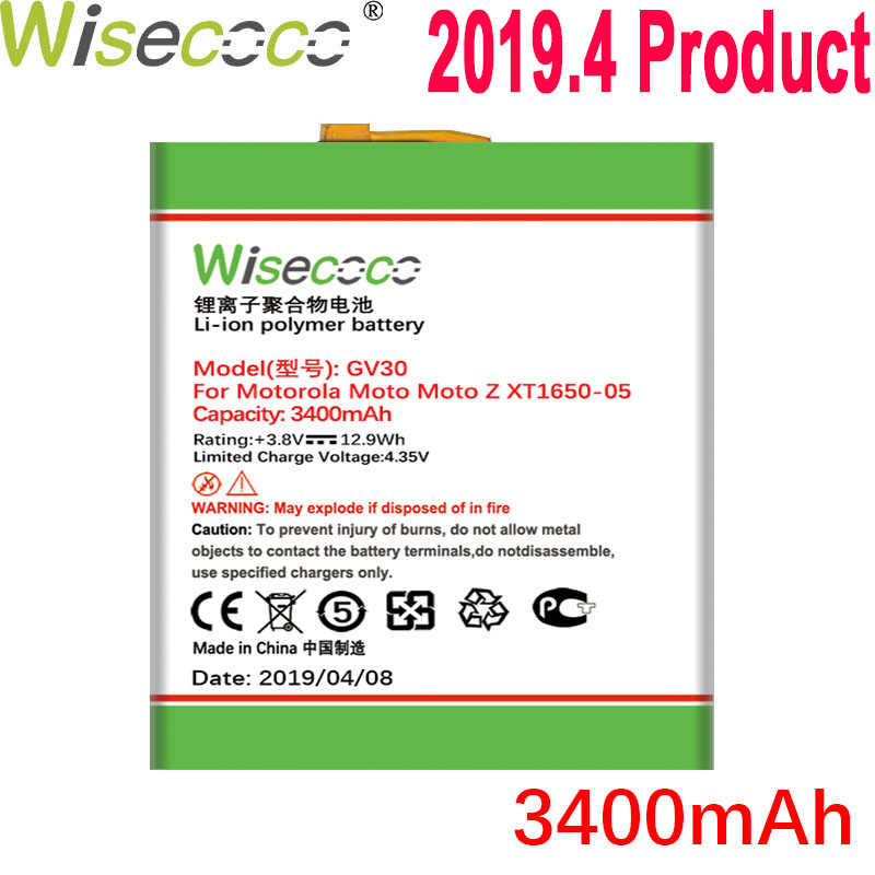 WISECOCO 3400mAh GV30 แบตเตอรี่สำหรับ Motorola Moto Moto Z XT1650-05 XT1650-01 XT1650-03 โทรศัพท์คุณภาพสูงแบตเตอรี่ + หมายเลขติดตาม