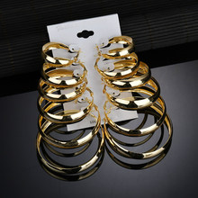 6Pc/s Exaggeration Gold silver big hoop earrings set Alloy for women Vintage steampunk Ear clip Wedding jewelry