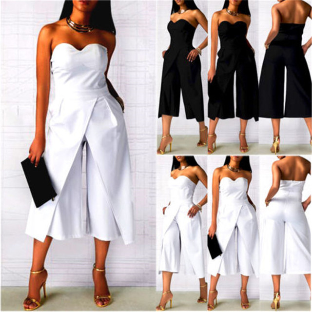 Fashion Women Summer Strapless Playsuit Bodycon Party Casual Jumpsuit Romper Clubwear Trousers