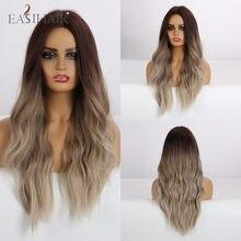 EASIHAIR-pelucas sintéticas para mujer postizo largo resistente al calor, color rubio marrón, degradado, parte media, estilo africano y americano
