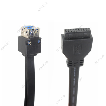 USB 3.0 Cable High Speed 20Pin 2 Port USB3.0 Hub USB 3.0 Front Panel Adapter Cable with Fixed Foot for PC Desktop Computer Black