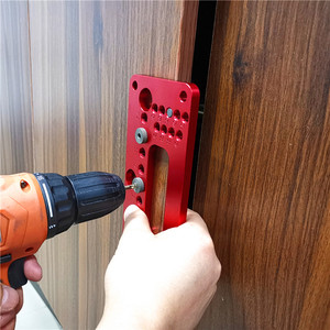 Image 5 - Hole Handle Pitch Punch Locator  Woodworking Aluminum Alloy Pocket Jig Set Wardrobe Door Cabinet Positioner Drill Guide Sleeve