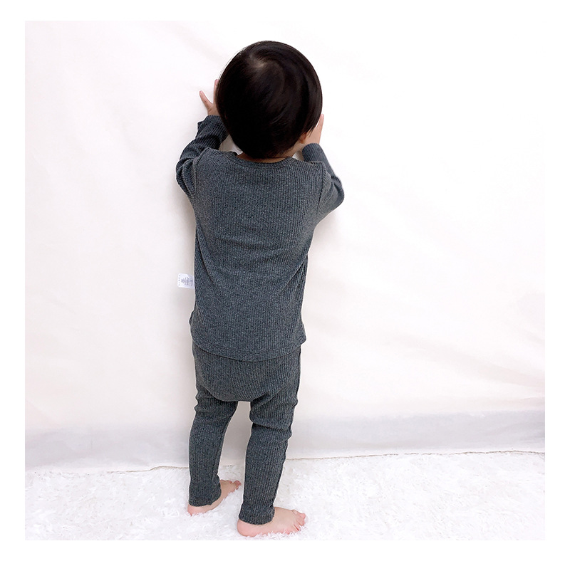 Soft Ribbed Toddler Girl Pajamas For Baby Boys Clothes Set Autumn Winter Children Outfits Long Sleeve Tops Pants 2 Pcs Kids Suit (6)