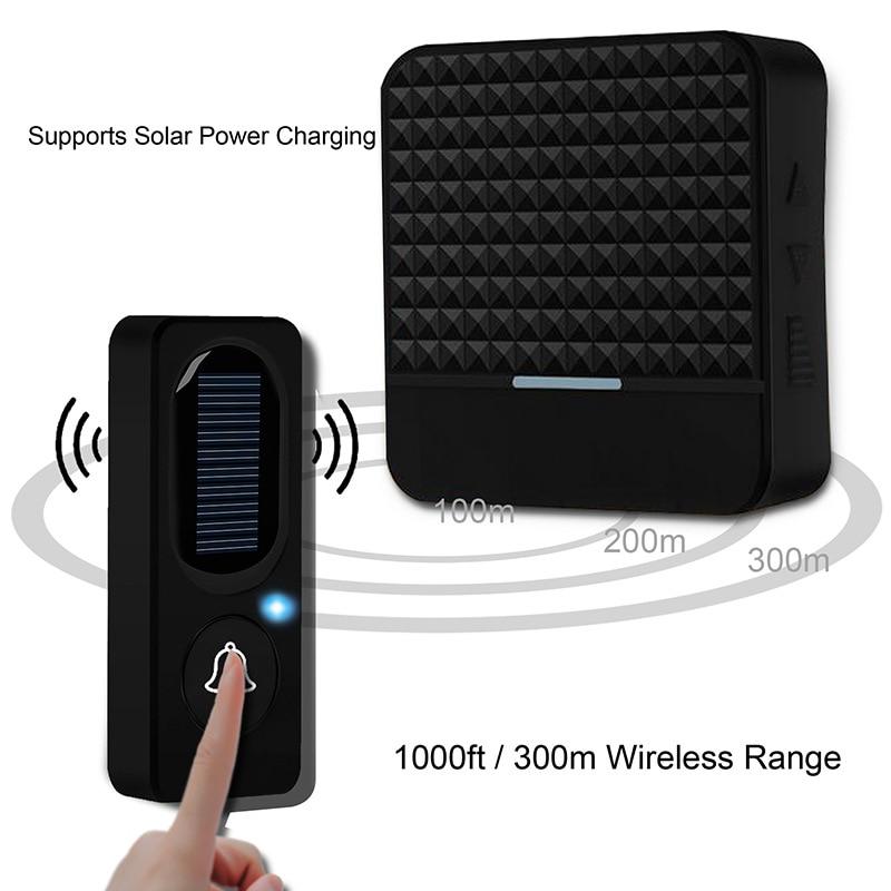 Wireless Solar Doorbell Home Wireless IP65 Waterproof 300M Door Bell Chime Outdoor Doorbell Solar Power Charging With Light