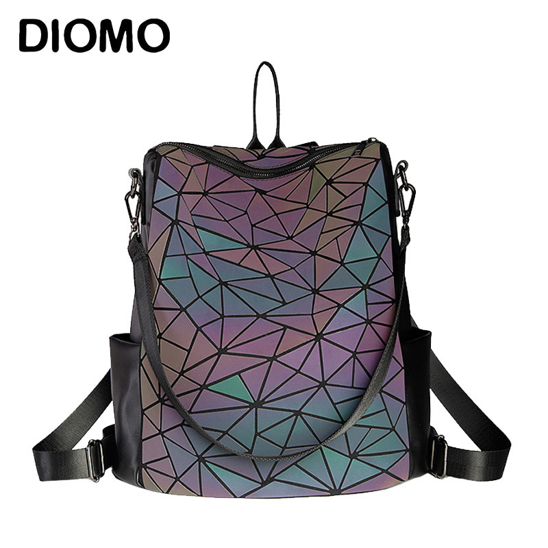 DIOMO 2019 Luminous Large Capacity Female Backpack Plaid Sequin Ladies Casual Backpack Teenage Holographic Laser Bagpack