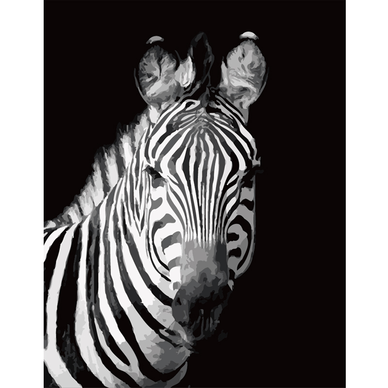 Black And White Zebra Animal DIY Painting By Numbers Wall Art Picture Acrylic Painting For Home Decoration Drop Shipping 60x75cm