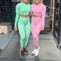 Women Vital Seamless Yoga set Fitness GYM Clothing Active Wear Sports Suits Long Sleeve Shirts High Waist Leggings Workout Pants