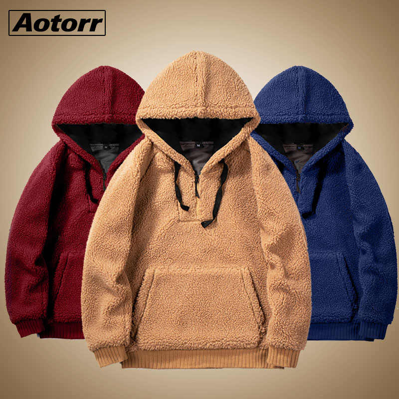 2019 Winter Warm Men Winter Thick Hoodies Tops Fluffy Fleece Fur Jacket Hooded Pullover Coat Outerwear Long Sleeve Cardigans