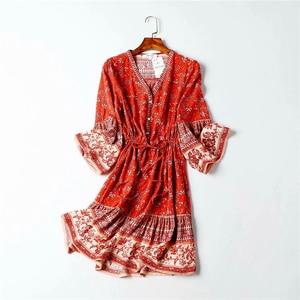 Image 5 - Vintage chic frauen hippie floral print quaste V ausschnitt Bohemian mini kleid Sommer damen flare hülse Boho kleider vestidos