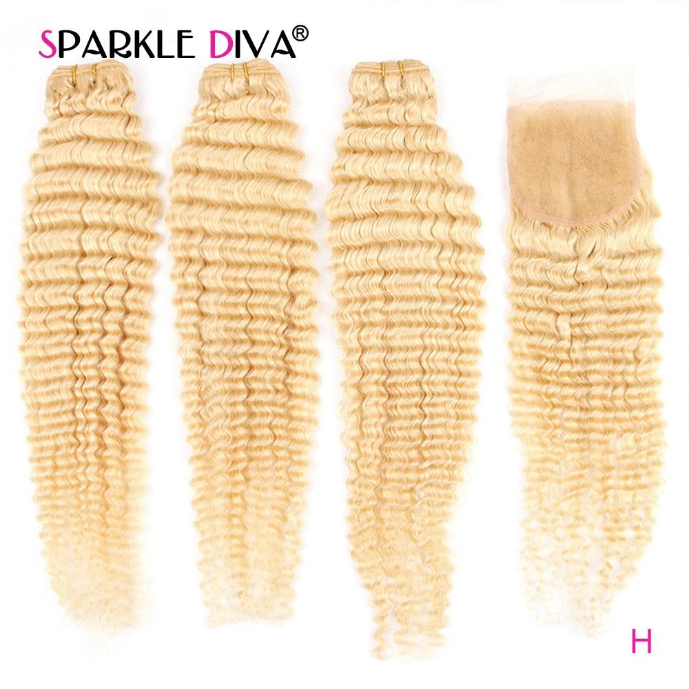 613 Bundles With Closure Deep Wave 3 Human Hair Bundles With Closure Remy Hair Extension Peruvian Blonde Bundles With Closure