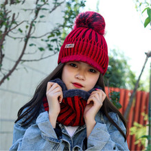 2019 Women Plush Winter Visors Beanies Rings Sets Ventilate Elastic Solid Thick Neck Ear Warm Soft Hat Scarf Accessories-CGC-W7