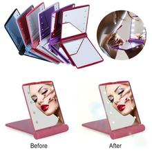 Makeup Mirror with 8 LED Lights Lamps Makeup Cosmetic Folding Portable Compact Pocket Mirror Light Led Lady Mini Mirror